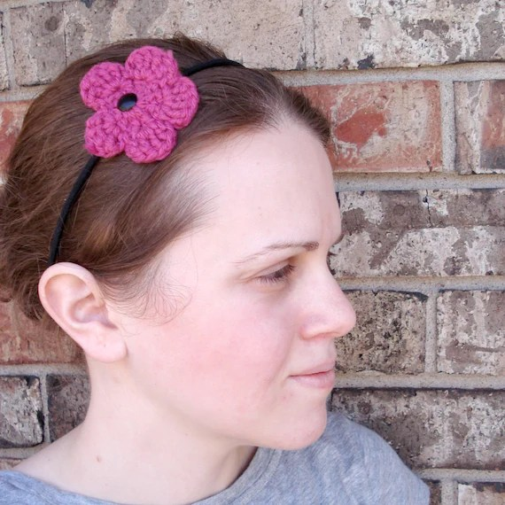 Stretchy Headband with Crocheted Flower-  Cute Hair Accessory