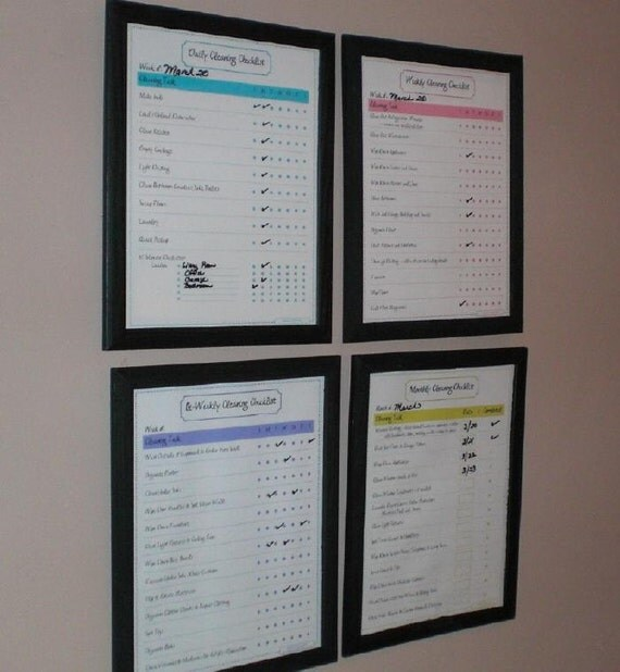 Cleaning Simplicity Kit Printables - 6 Piece Set includes Daily, Bi-Weekly, Weekly, Monthly and Spring Cleaning