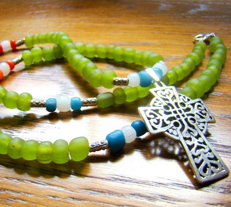 Ethnic Cross Necklace: Sterling Celtic Cross on a string of green glass Ethiopian trade beads
