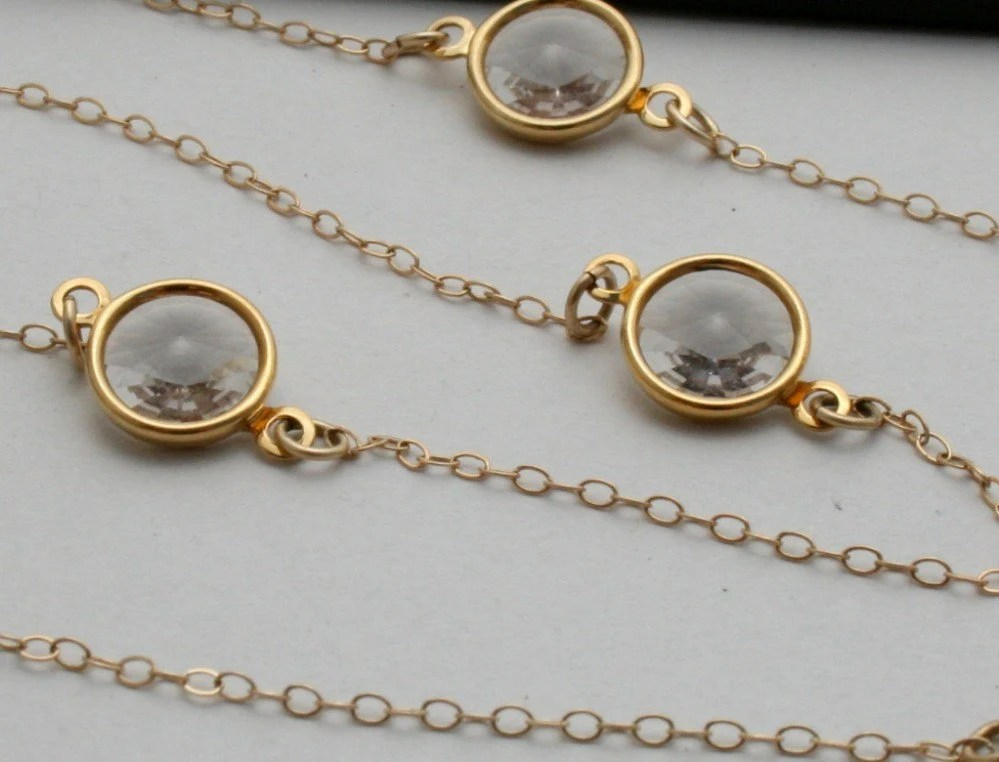 Elegant Diamond Swarovski Crystal and 14kt Gold Long Chain Necklace