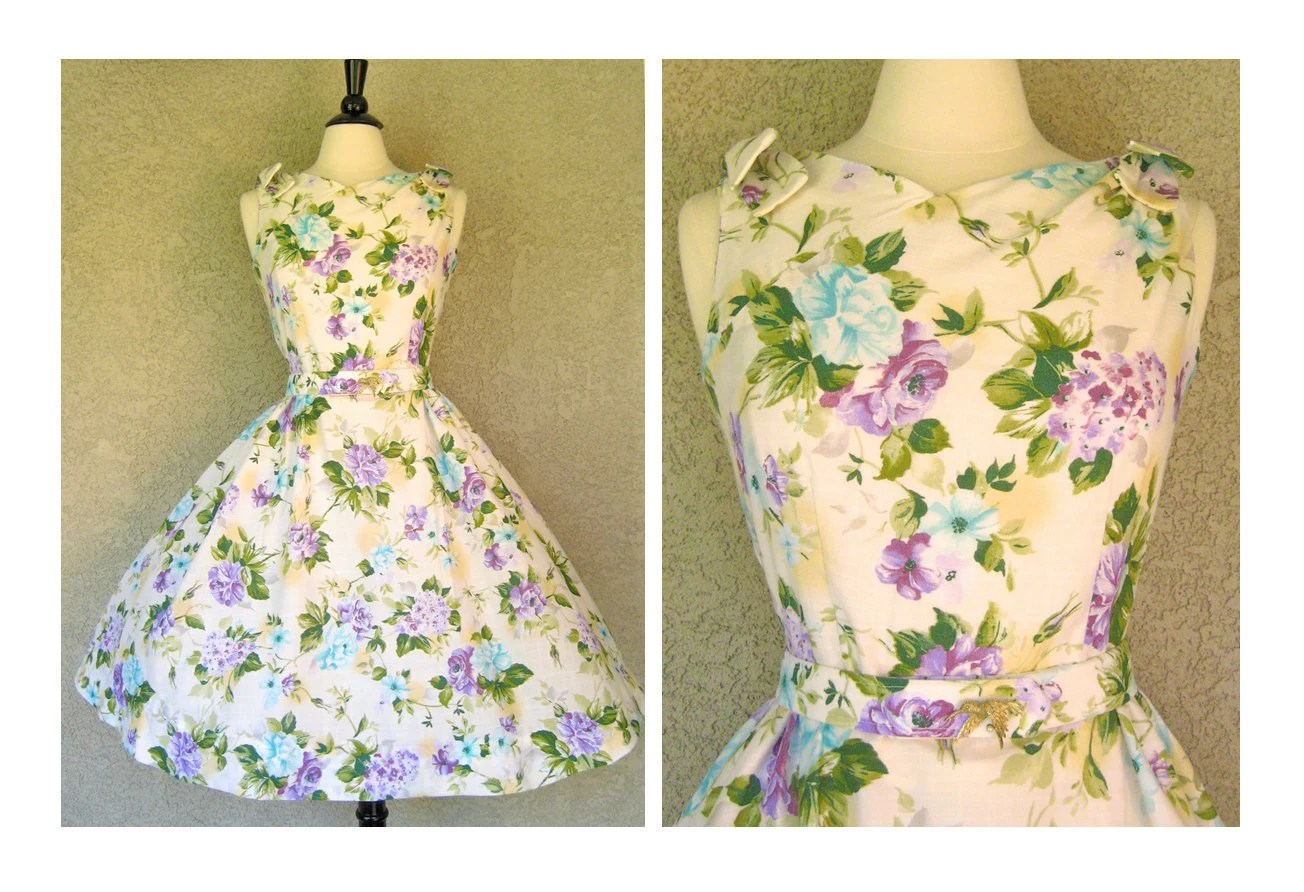 Adorable 1950's Style Vintage-Fabric Betty Draper Reproduction Spring Party Dress with Bows and Matching Belt