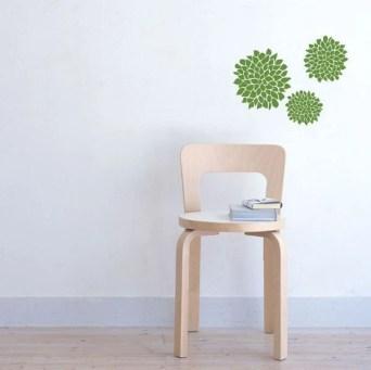 Green Mum Flower Wall Decal