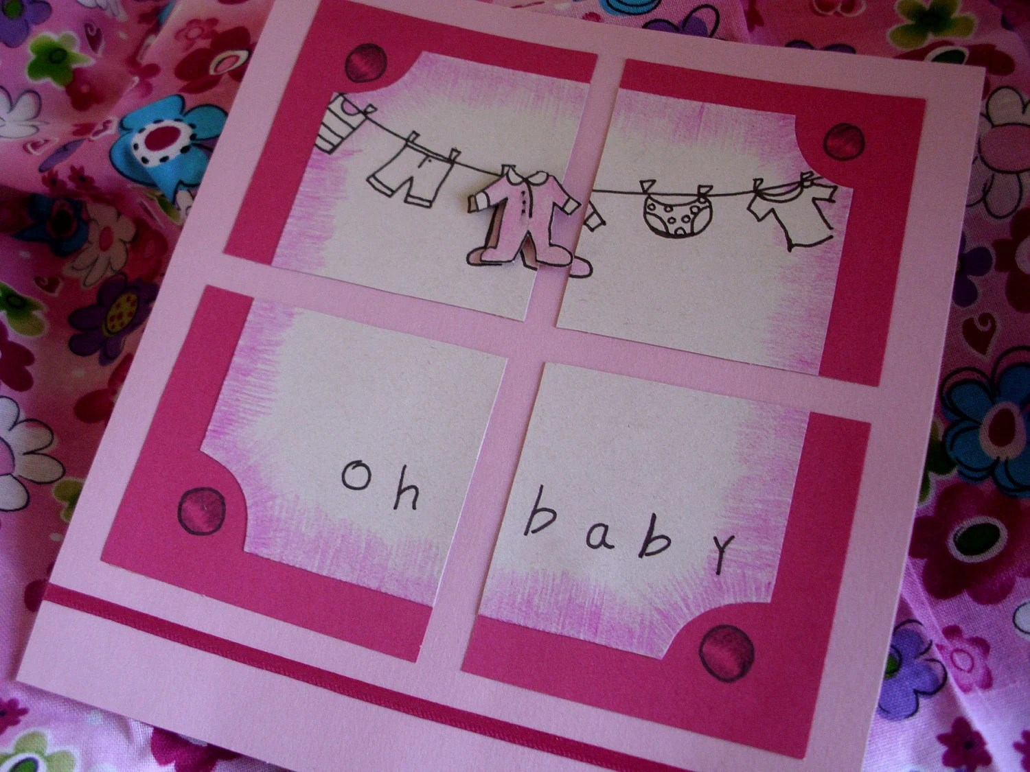 Oh Baby - Birth Congratulations / Announcement Card - Hand drawn and Handmade
