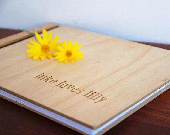 custom timber wedding book // luke loves lilly