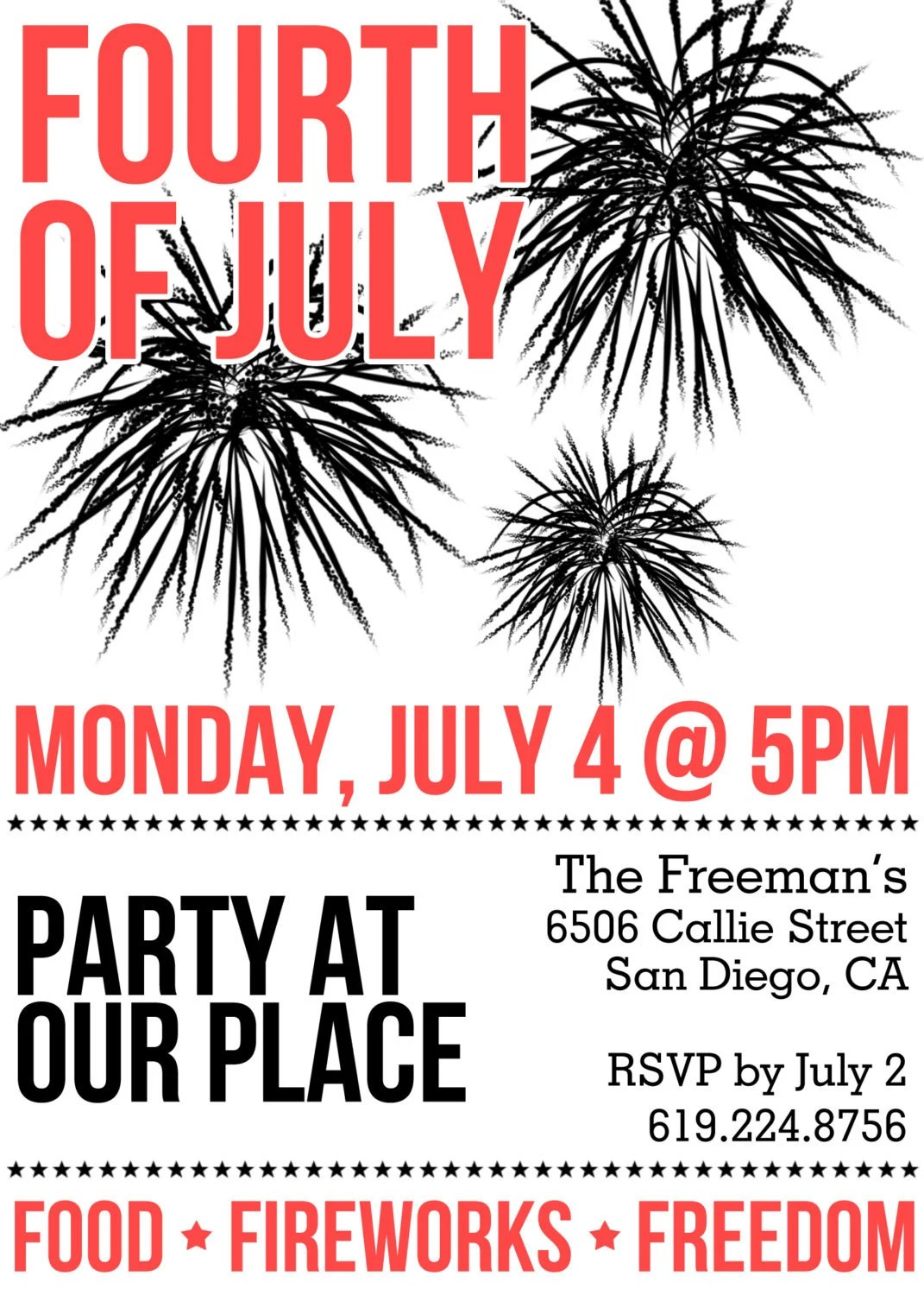 Fourth of July Party Invitation - Printable