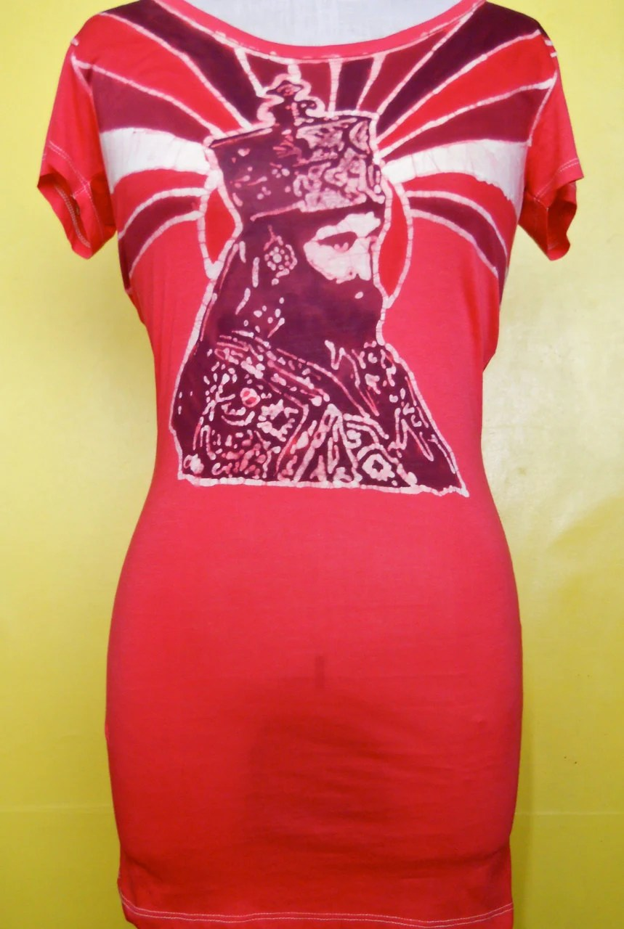 Batik tunic Haile Selassie Hand painted red  Sz. L-XL