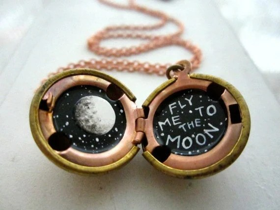 Fly Me to the Moon, Please - Hand-painted Locket