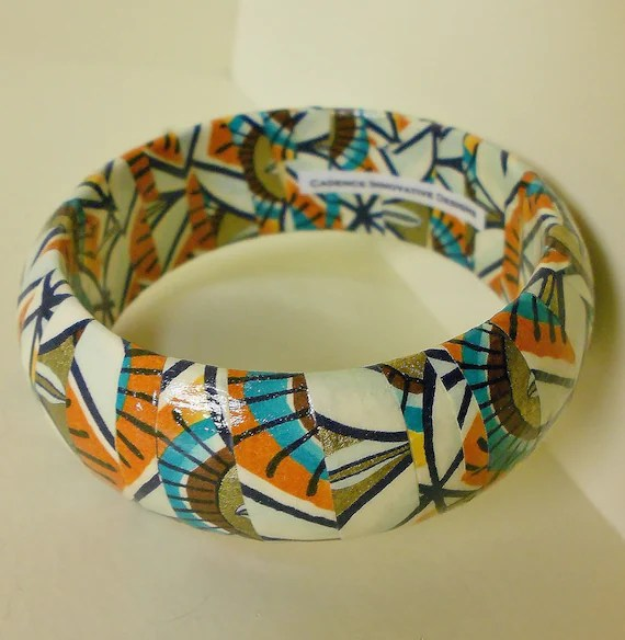 Aztec Deco Fan Print Hand-Decoupaged Handmade Wood Bangle Bracelet by cadencedesigns on etsy