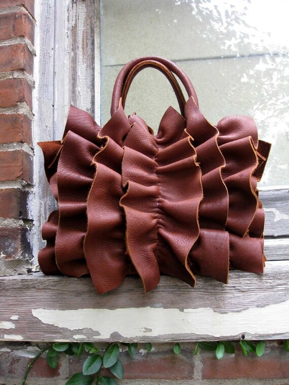 Tobacco Brown Ruffled Elk Leather Bag By Stacy Leigh Made to Order
