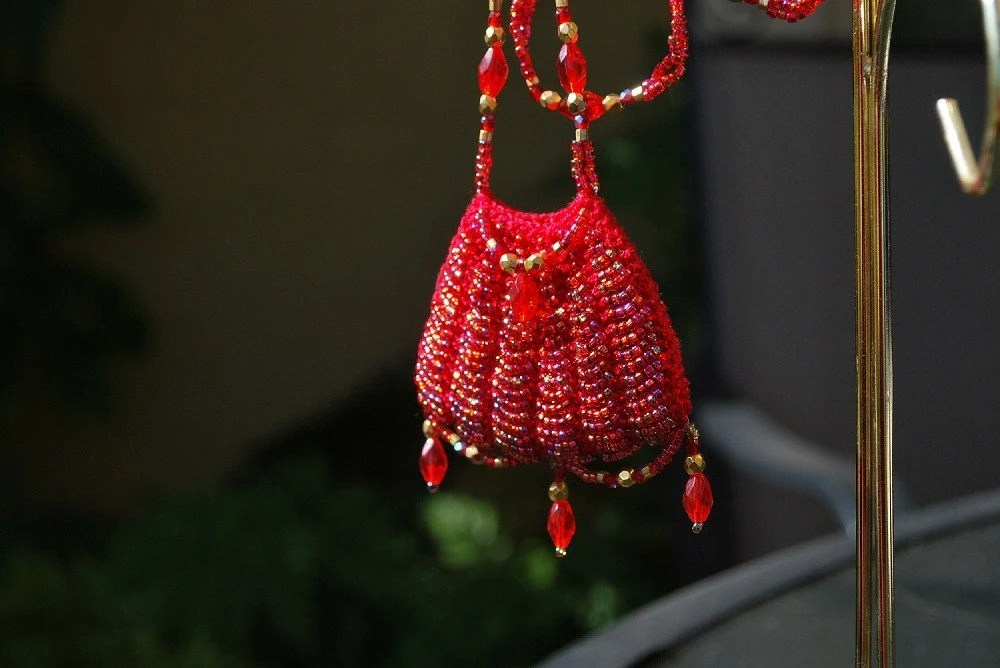 Beaded Amulet Bag Necklace