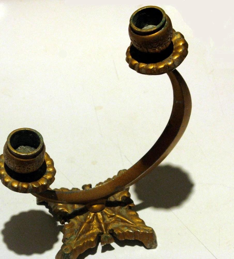 Antique Edwardian Solid Bronze Candelabra/Candlestick - Crescent Motif