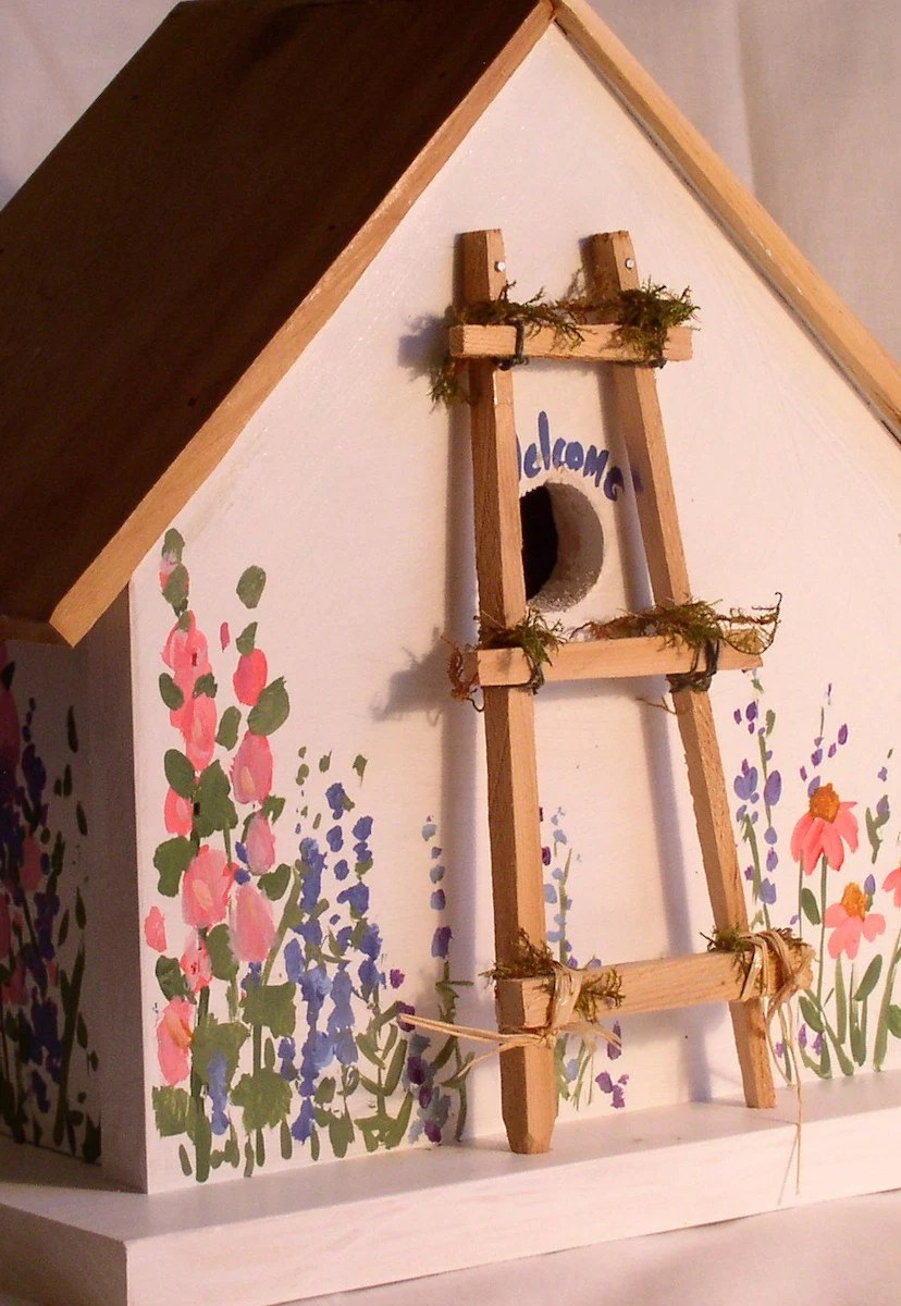 Birdhouse with Ladder and Flowers