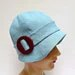 Cloche Hat in Ice  Blue Linen with Dark Red Buckle - Made to Order