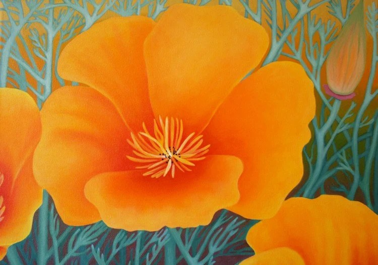 Poppy party, bright, vibrant California poppies original painting by Heide Hibbard Reed