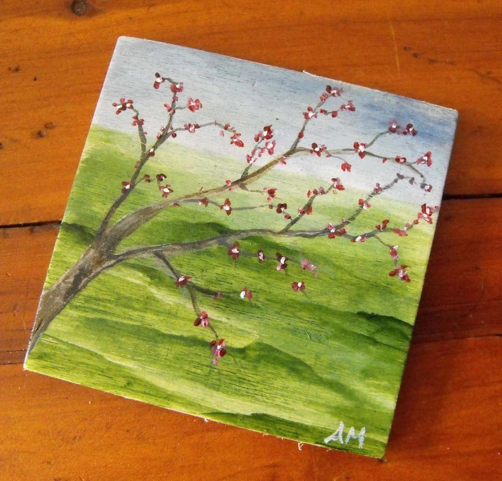 Spring Blossoms Art Magnet - Original Acrylic Painting