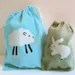 EARTH GREEN batik BUNNY micro-mini project or notion drawstring bag NO TEXT super for knitters spinners