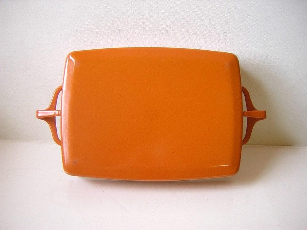 Vintage Dansk Kobenstyle Enameled Pot Pan - Jens Quistgaard IHQ - Open Roaster Casserole - Orange