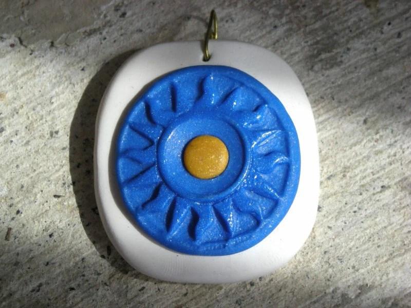 SYMI SUN DIAL Polymer Clay Pendant