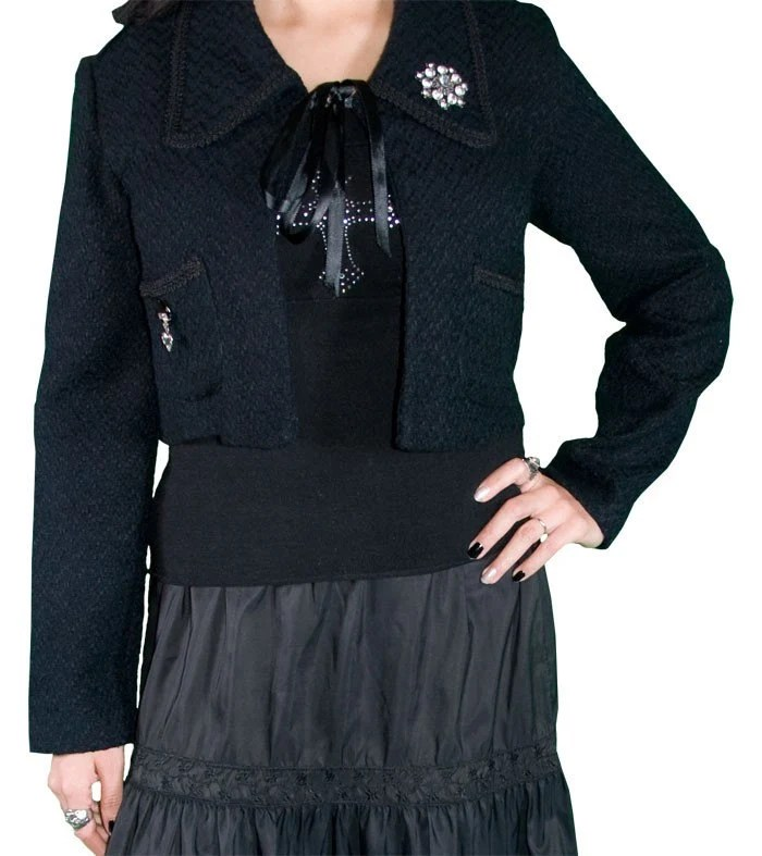 upcycled black woven swing coat made by Rampage