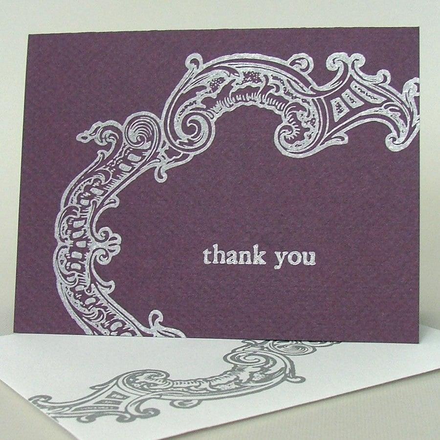 Silver Frame letterpress thank you card