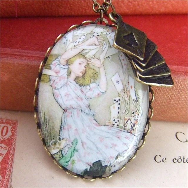 alice in wonderland inspired jewellery, you're nothing but a pack of cards locket necklace pendant
