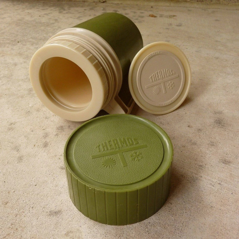 Vintage Avocado Green Winter Thermos