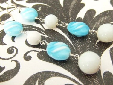 Turquoise and White Dangle Earrings