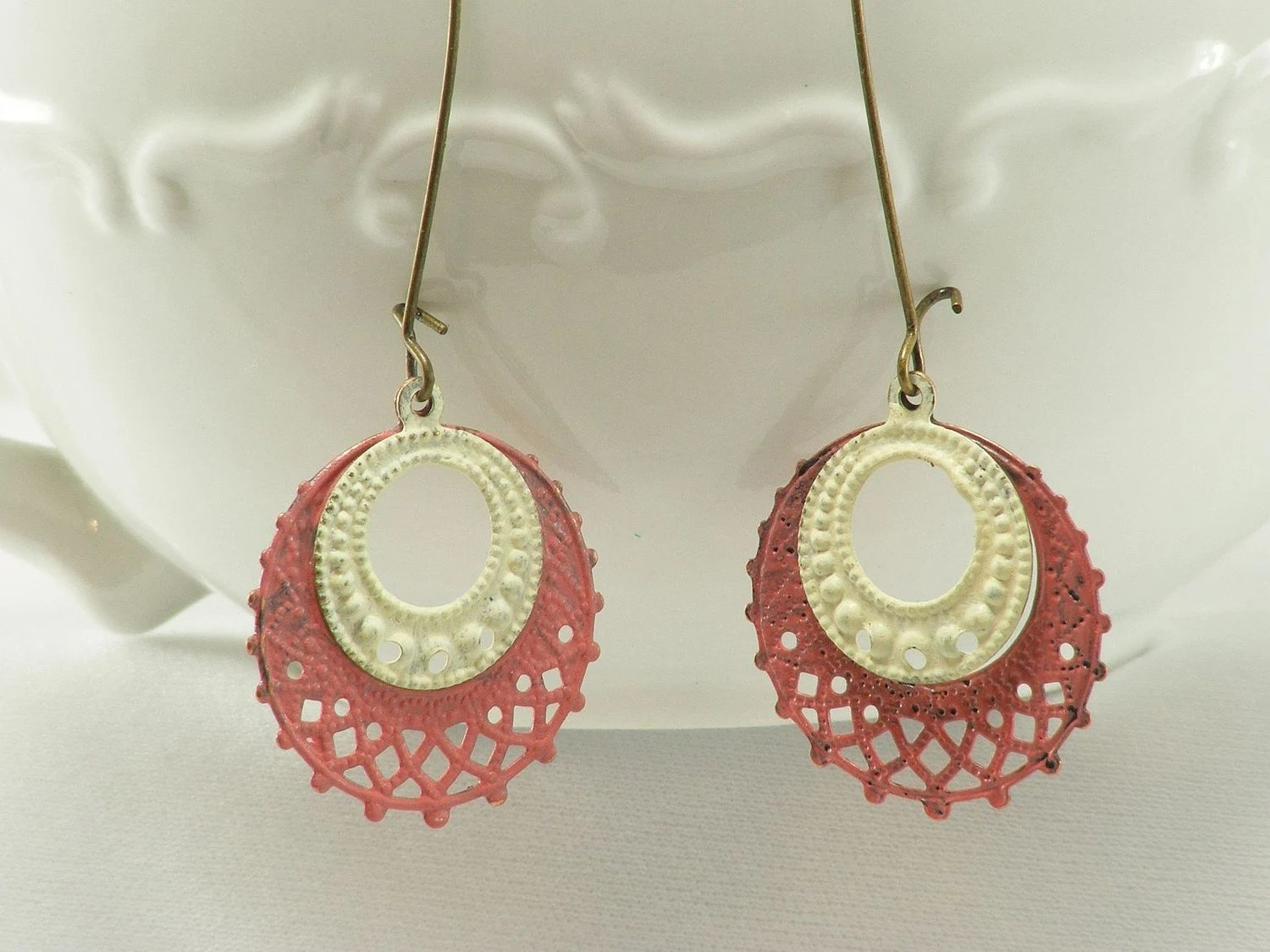 White & Coral Earrings by Gleeful Peacock