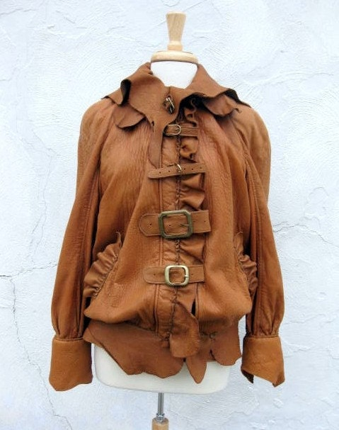 Restyled Dusky Brown Soft Leather Coat with Eclectic Brass Buckles and Natural Edge Trim Size Small to Medium