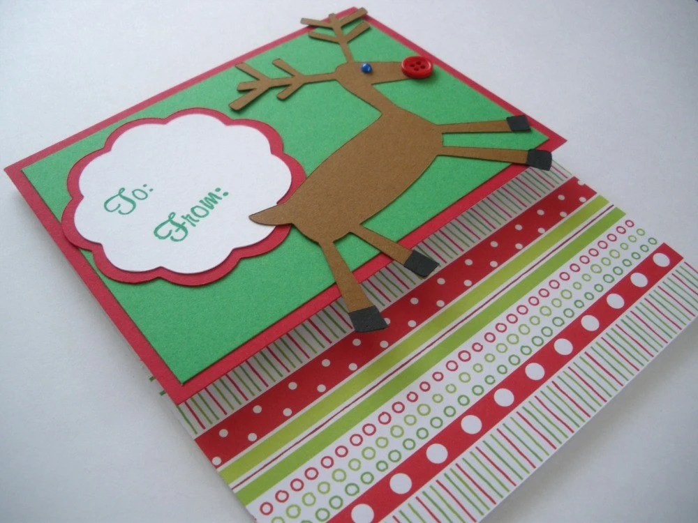 EtsyGreetings Handmade Cards Gift Card Holder Reindeer