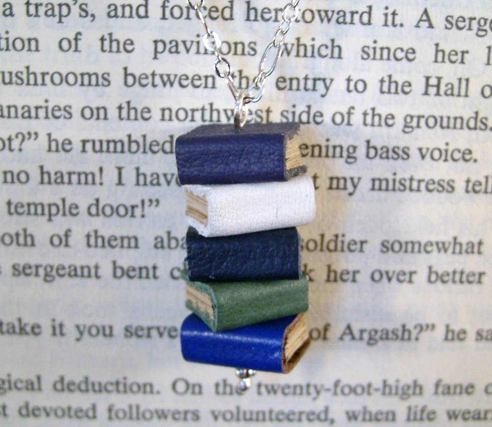 Book Necklace Stack