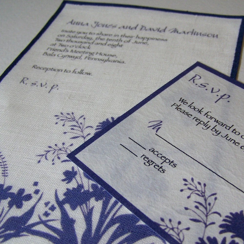 Fabric wedding invitations with rice paper RSVPs - wild flowers, set of 25 for $90