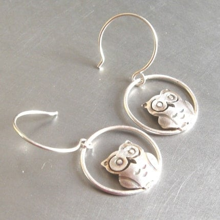 Small Silver Owl Earrings