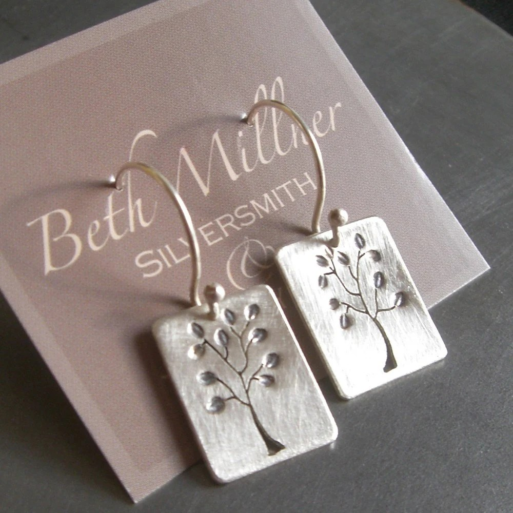 Reversible Small Leafy Silver Tree Earrings
