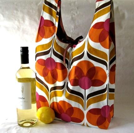 eco-friendly grocery bag - mod orange flowers