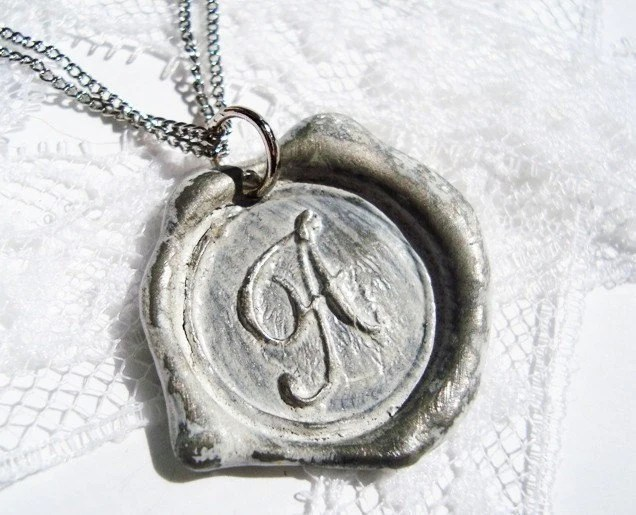 monogrammed initial wax seal pendant by RitzyMisfit