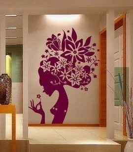 Wallpaper Wall Glass Sticker Decal BIG Flower Girl  70 inc x 47 inc