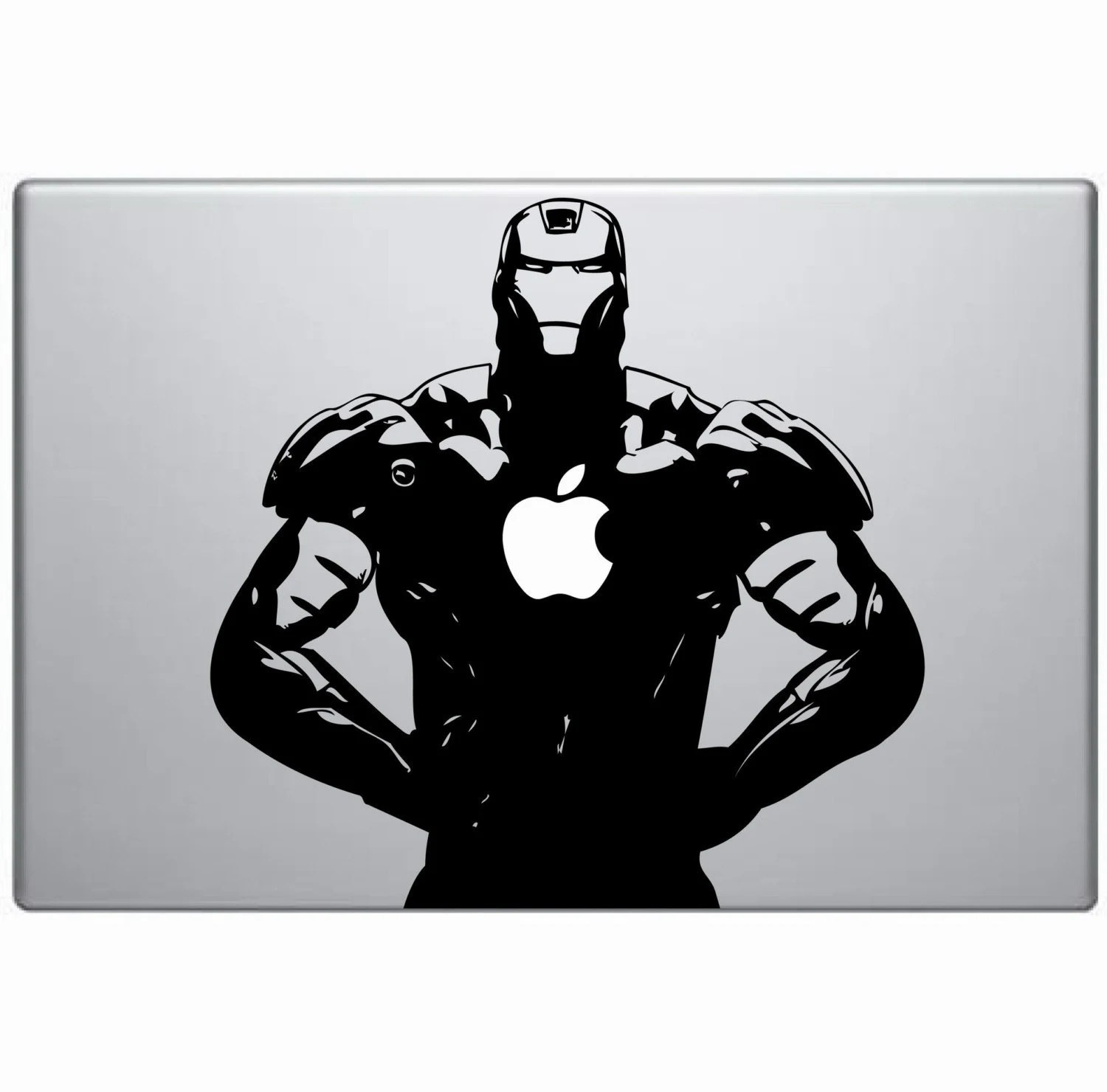 Black and White Iron Man on Mack Book