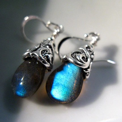Enchantment - Sultry Blue Flash Labradorite Earrings