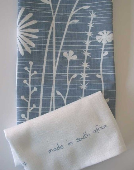 Summer Weeds in smoke blue - teatowel