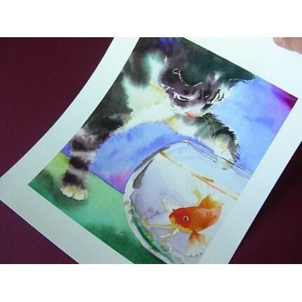 Watercolor print of cat pawing at fishbowl