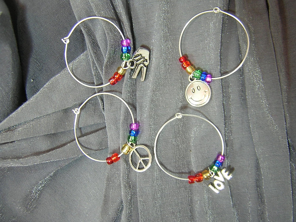 Peace, Love, and Happiness Wine Charm Set of Four Wine Glass Markers by Rewondered D643W-00005 - $14.95