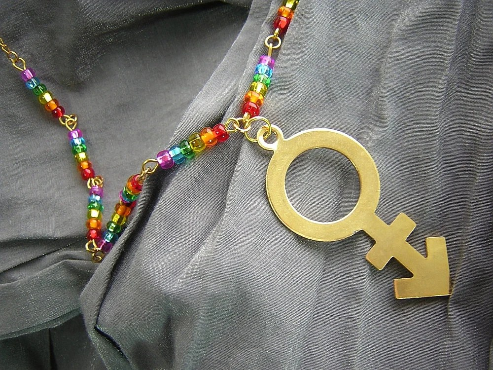 LGBT Pride Rainbow and Gold Pendant Necklace Handmade by Rewondered