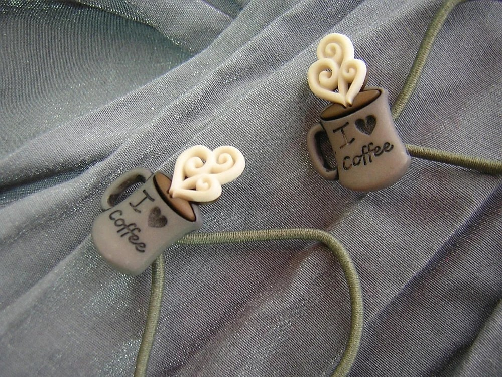 I Love Coffee Hair Elastics Ponytail Holders by Rewondered D202E-00004