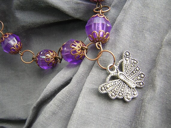 Purple and Copper Large Bead Necklace with Silver Butterfly Charm Handmade by Rewondered