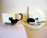 Handpainted breakfast mug and plate - Amsterdam Cats