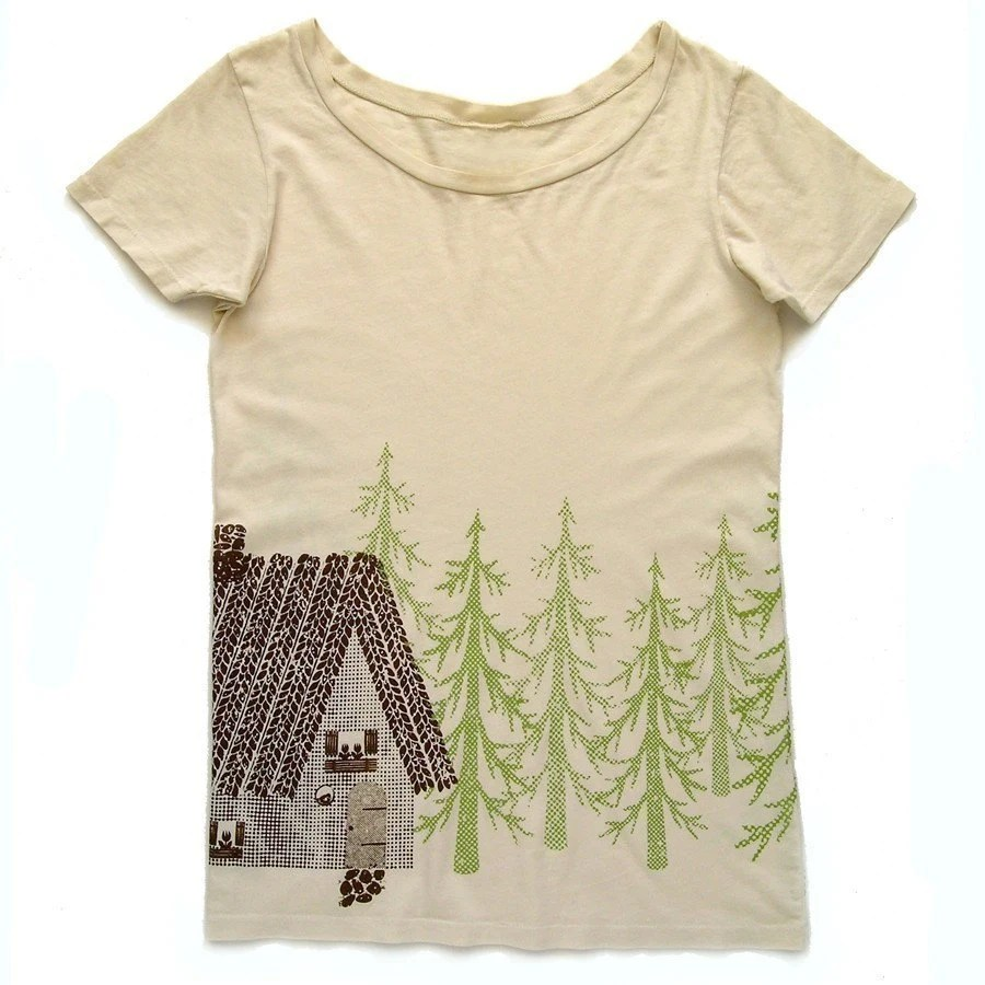 Organic T-shirt- Woodland Cottage Design