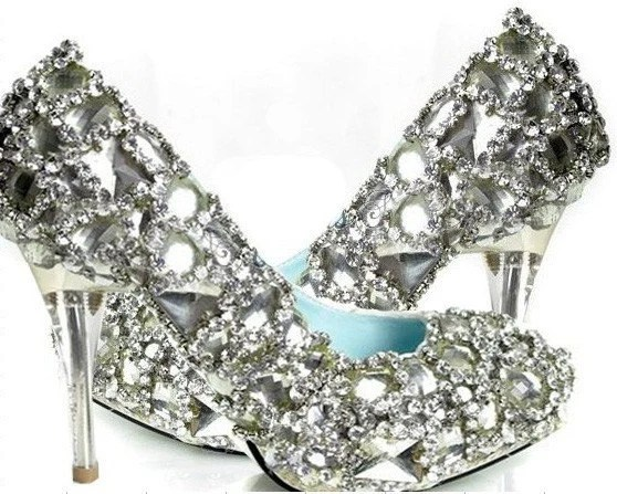 Custom made Cinderella glass slipper pumps heels crystals  rhinestones sequins