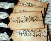 Happy Halloween Vintage Style Gift Tags/Labels with Glitter-SET of 6-Ribbon Choice Available