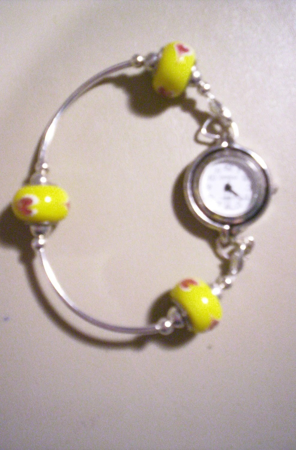 Yellow Beaded Swap Bracelet Watch Band or Medical Alert Tag Band